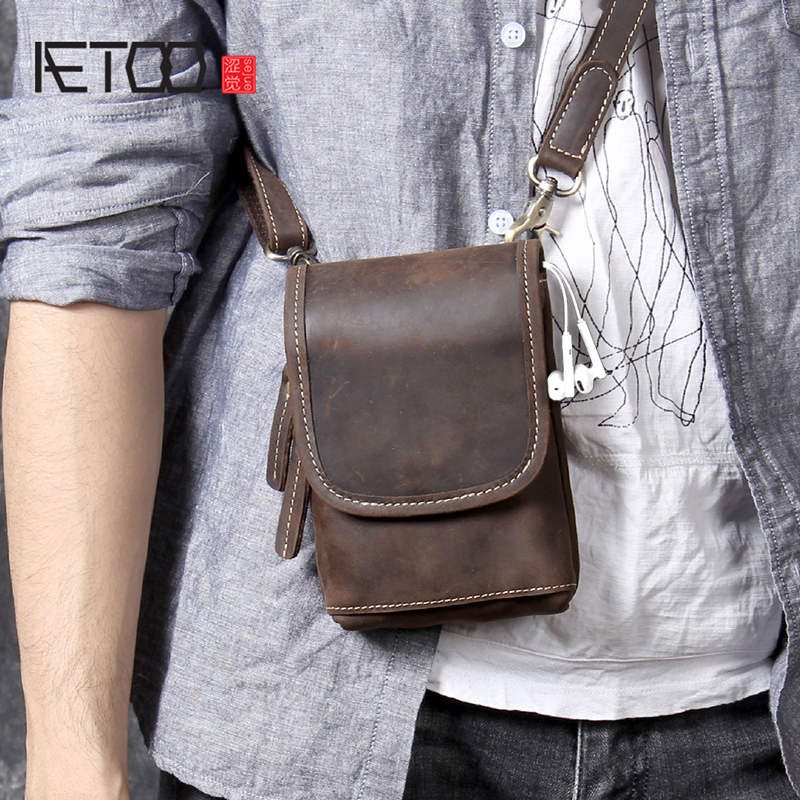 AETOO Mini mad Horse Leather shoulder oblique carry small bag men's Chest bag original head cowhide mobile phone bag waistband