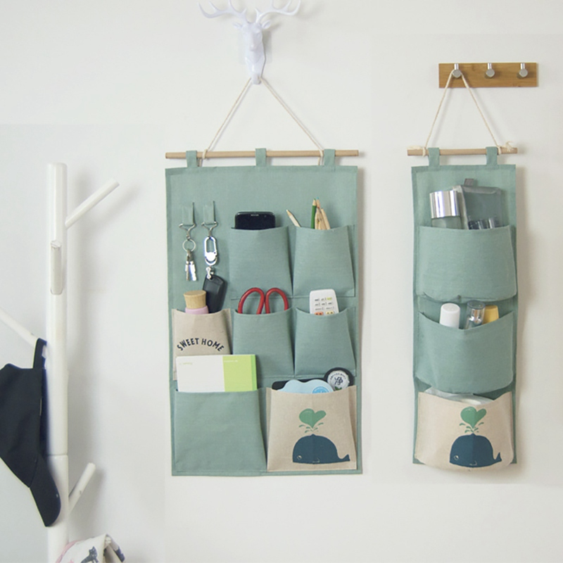 Cotton And Linen Hanging Seven Pocket Storage Bag Cotton Linen Wardrobe Wall Pouch Toys For Bedroom Kitchen Bathroom