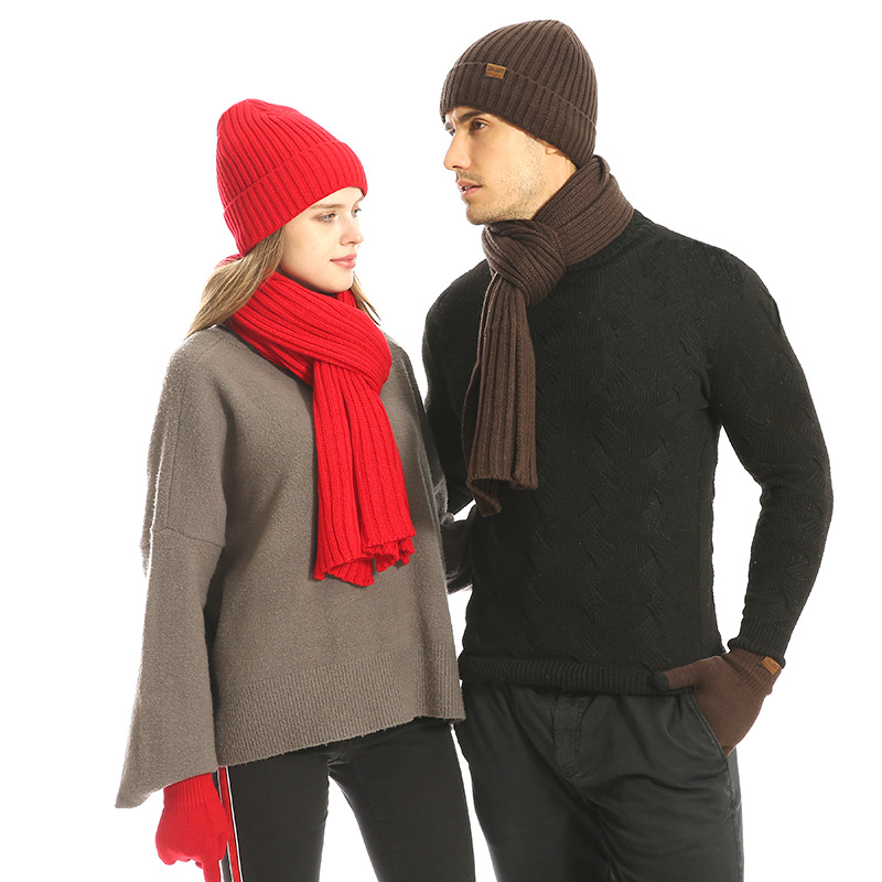 Knitted  Winter Hat And Scarf Glove Set For Men Women Hat Wool Skullies Female Cap And Scarves Gloves Set Three Pieces Keep Warm