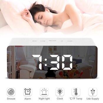 Mirror Digital Alarm Clock Mirror LED Night Light Thermometer Wall Clock Lamp Square Rectangle Multi-function Desk Clock USB AAA 1