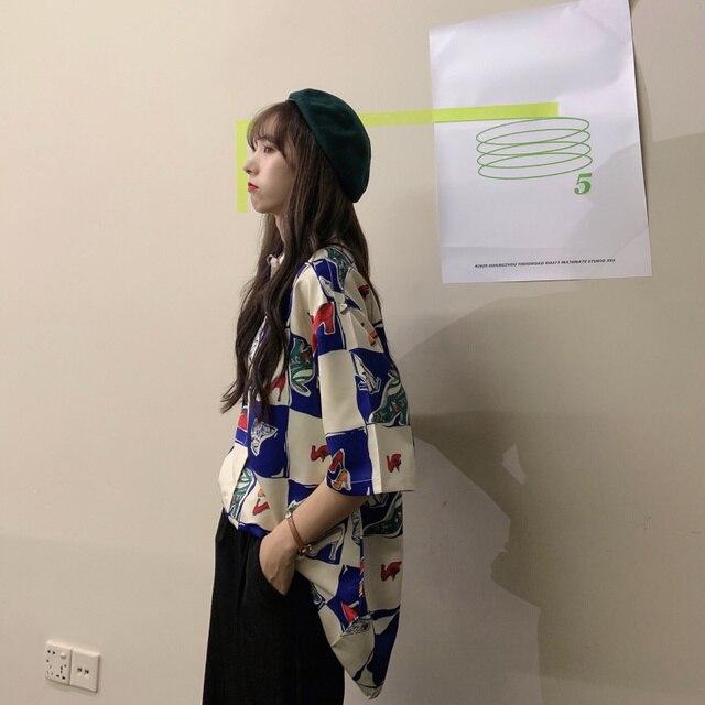 Korean Style Summer Women Blouse Cardigan Button Up Shirt for Ladies Short Sleeve  Ulzzang Harajuku Streetwear Clothes 5