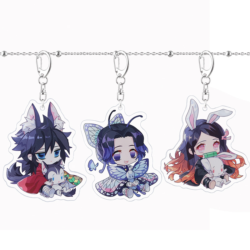 Key Chain Kamado Nezuko Keychain Keyring Acrylic Key Ring Creative Woman Sleutelhanger Girls Cute Demon Slayer Kimetsu No Yaiba
