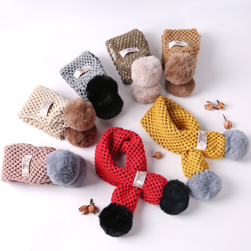 New Kids Winter Scarf Pompom Baby Scarf Boys Girls Warm Scarves Knitting Fur Ball Intersection Shape Children Ring Scarf