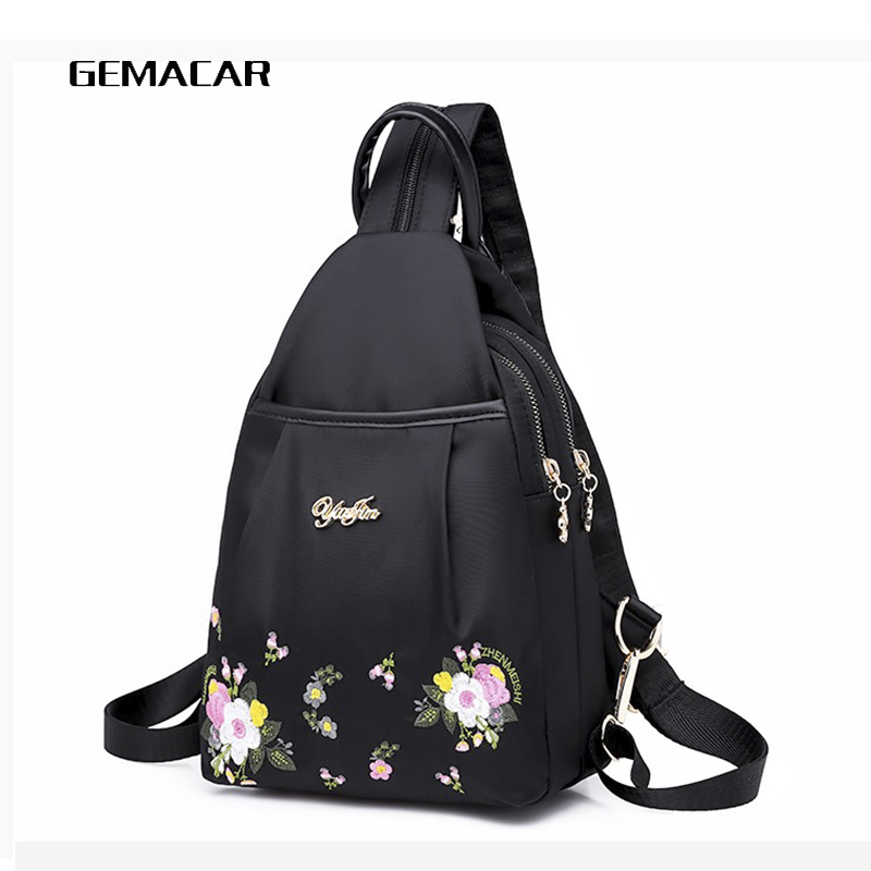 Fashion Women Backpack Embroidered Flowers Oxford Cloth Female Backpacks For Girls Teenagers Schoolbag Small Backpack Ladies Bag