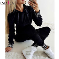 Women Tracksuit Casual Long Sleeve Hoodies Diamond Decoration Fashion 2 Piece Sets Black Long Pants Tracksuit Sport Outfits