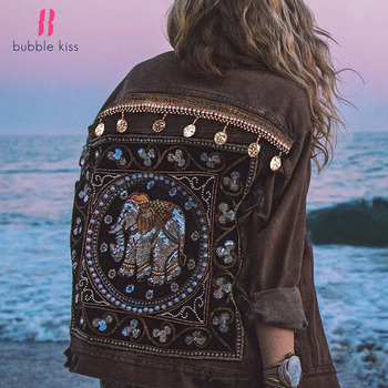 Women Denim Short Jackets Jeans Coats Vintage Fashion Black winter Bohemian Long Sleeve Clothes 2020 Outerwear Ladies Clothing women jackets winter coats long sleeve fashion lapel zipper patchwork jacket outerwear female short elegant ladies clothing tops