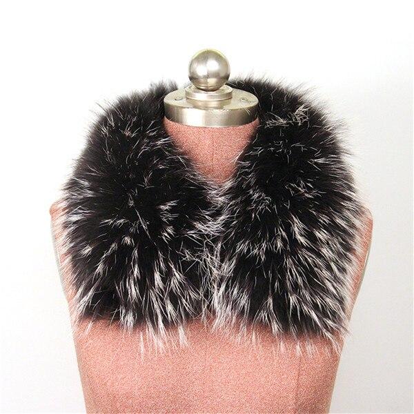 Женский шарф теплый подарок из меха енота ожерелья для куртки шарфы Banand Schal теплый натуральный зимний меховой шарф для женщин - Цвет: black and white