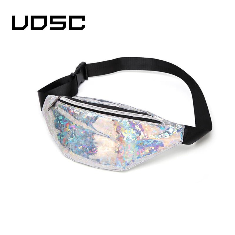 UOSC Waist Bag Fanny Pack For Men Women Phone Chest Belt Bag Fashion Designer Holographic Glitter Purse Travel Pouch