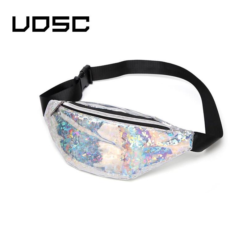 UOSC Waist Bag Fanny Pack For Men Women Phone Chest Belt Bag Fashion Designer Holographic Glitter Purse Travel Pouch
