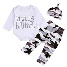 Newborn Infant Baby boy Girl Letter Printed Romper Tops+Camo Pants+Hat Clothes Outfits 3Pcs Warm Autumn 6M-24M K30(China)