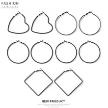 hot geometric Alloy big circle  creative personality earrings for women black hollow out  fashion trend earrings holiday gift leaf hollow out circle earrings