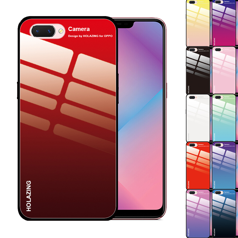 Anti-Shock Crystal Gradient Colorful Tempered <font><b>Glass</b></font> <font><b>Case</b></font> for <font><b>OPPO</b></font> A5 <font><b>A3</b></font> A1 A83 A77 A59 A7X A57 A9 Black Red Cover image
