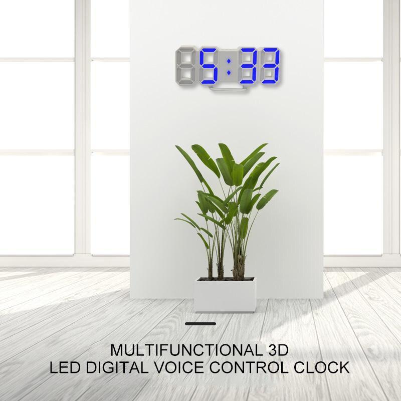 Новый 3D светодиодный цифровой будильник, современные настенные часы, электронный ночник, дисплей, будильник для украшения дома, гостиной|Будильники|   | АлиЭкспресс