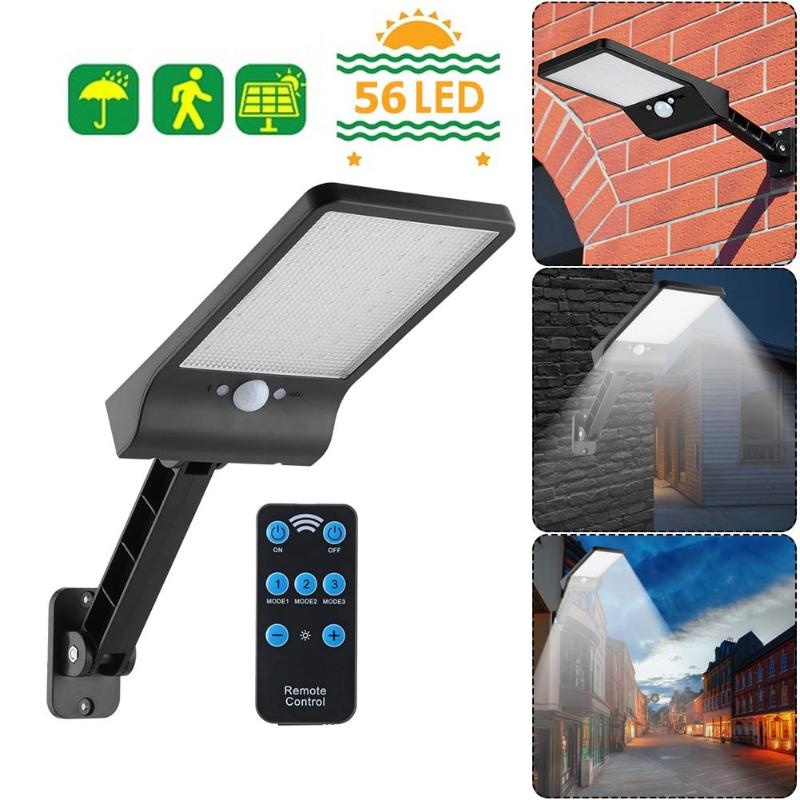 56LED Solar Motion Sensor Wall Light Outdoor Street Lamp Adjustable Brightness Garden Street Lamp w Remote Control
