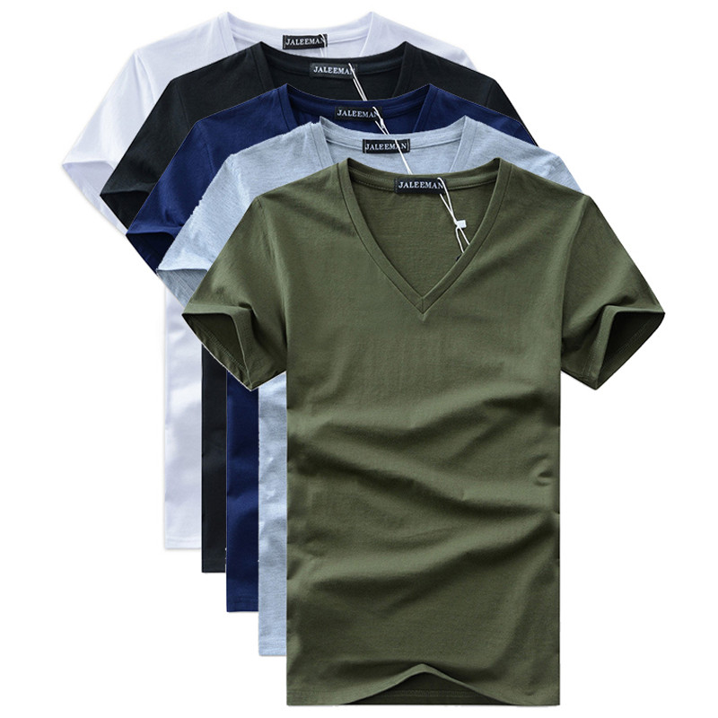 5PCS summer Hot selling Men V neck t shirt cotton short sleeve tops high quality Casual Slim Fit Classic Brand shirts