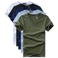 5PCS summer Hot selling Men V neck t shirt cotton short sleeve tops high quality Casual Men Slim Fit Classic Brand t shirts цена и фото