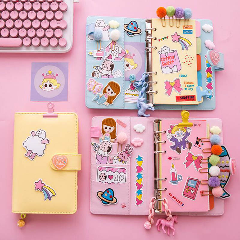 Ring Binder DIY Notebook Lovely Girls DIY Scrapbook Notebook Creative A6 Spiral Diary Book