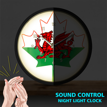 Ddraig Goch UK Sound Activated Light Emitting Wall Clock Flag of Wales Night Light Great Britain Flag of Wales Metal Frame Lamp image