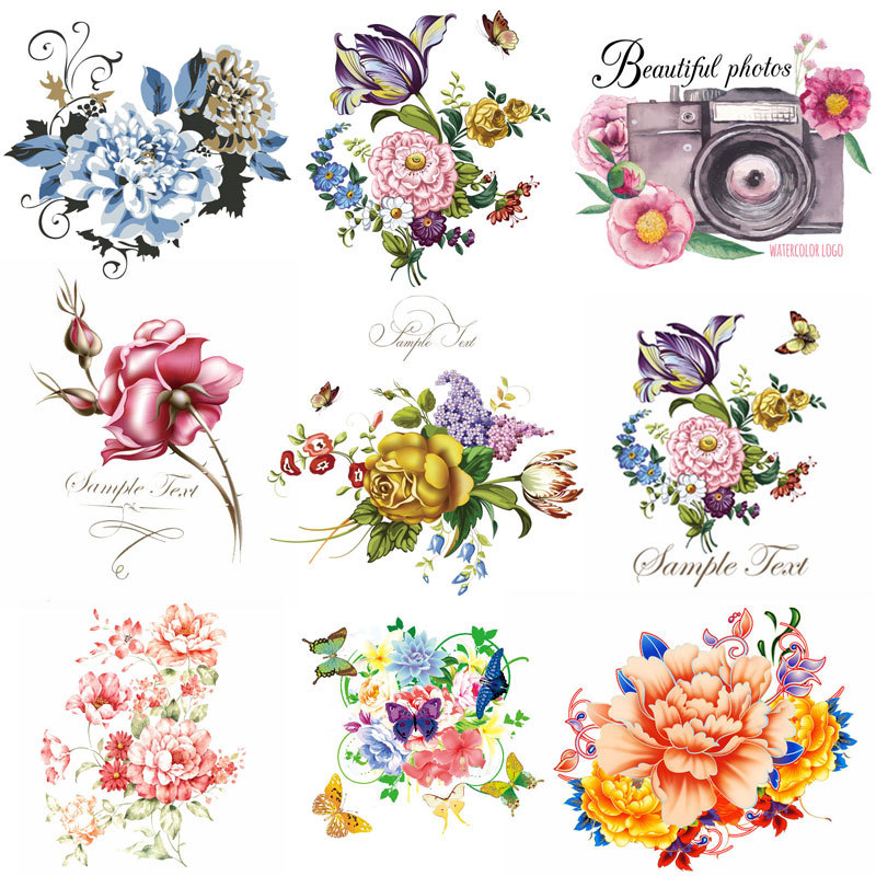Iron-On Patches For Clothing Diy Patch Cute Flower Pattern Transfers For Clothes Eco-Friendly 2-pieces Patch
