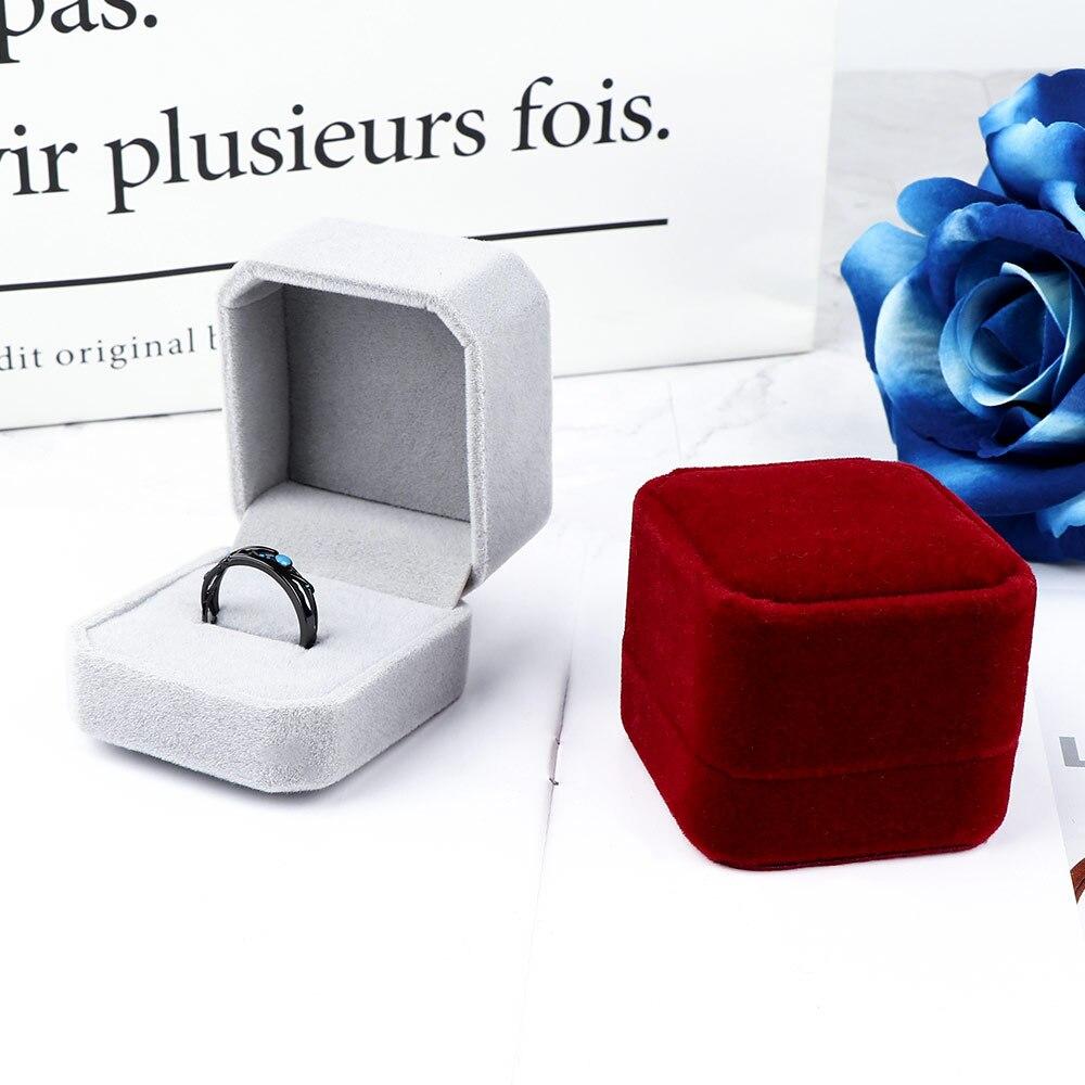 1 pièces de haute qualité boucles d'oreilles anneau bijoux boîte cadeau boîte dames boîtes à bijoux forme classique velours anneau boîte boîte à bijoux organisateur