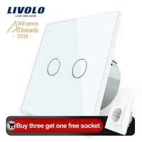 Interruptor táctil de pared Livolo 2 Gang 1 Way, interruptor de hogar de pared, Panel de interruptor de cristal, estándar europeo, 220-250 V, C702-1/2/3/5