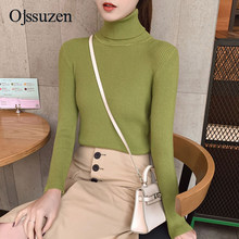 Sweaters Women's Clothing 2019 Winter Female Tops Pullover Black Green Red Turtleneck Women Warm Slim Knit(China)