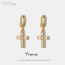 Yhpup Trendy Classic Cross Geometric Lucky Dangle Earrings Zircon High Quality pendientes mujer moda 2019 Charm Gold Accessories