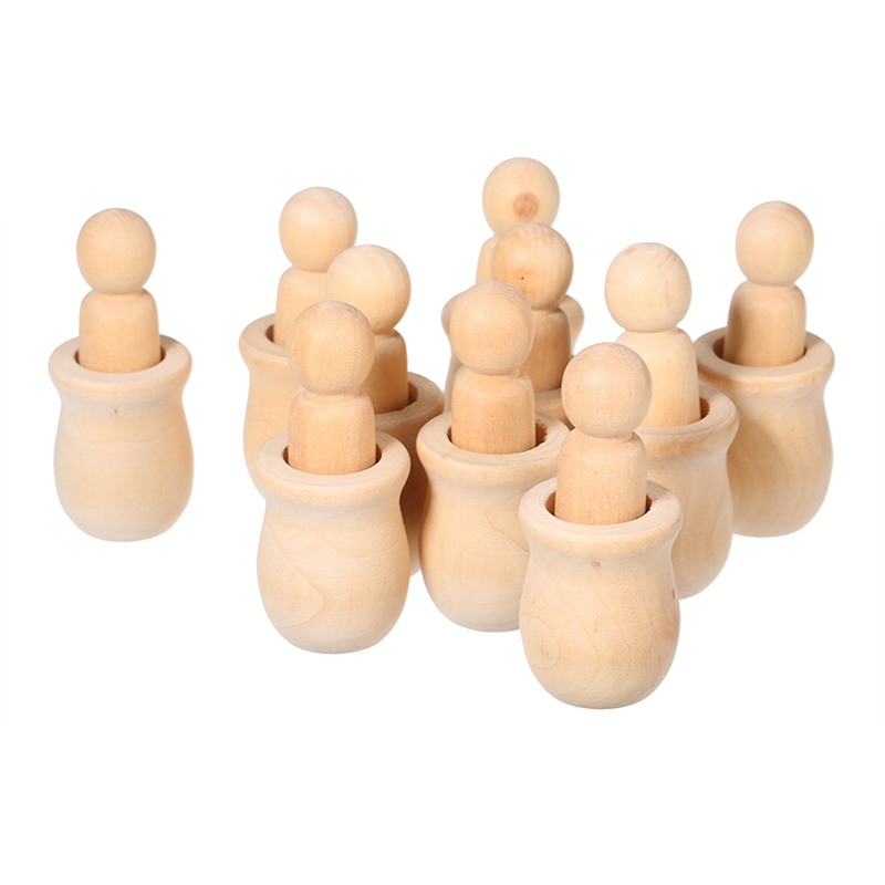 New-10Pcs Wooden Peg Dolls Unfinished Crafts Diy Paint Stain Kid'S Party Favor Wedding Home Decor Wood Craft People Nesting Set