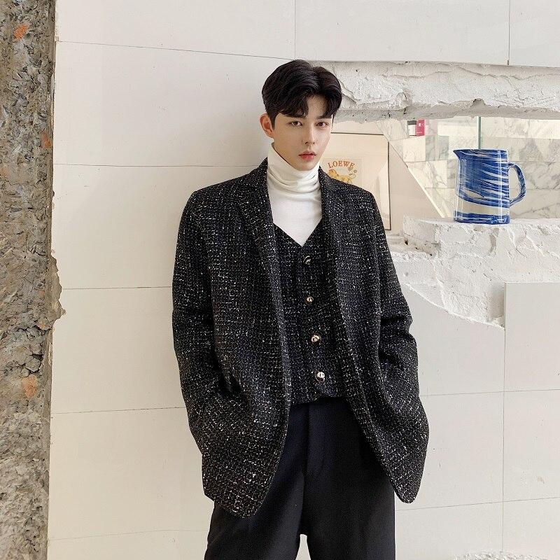 Men Autumn Winter Fake 2PCS Splice Loose Casual Woolen Suit Jacket Blazer Male Streetwear Vintage Fashion Suits Coat Outwear