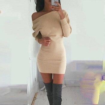 45#Beach Dress Women Winter One Shoulder Sweatshirt Long Sleeve Solid Color Mini Women's Dresses Holiday Party Nihgt Dress
