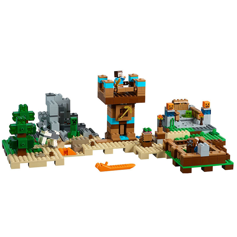 The Crafting Box 2.0 Building Block With Steve Action Figures Compatible LegoINGlys MinecraftINGlys Sets Toys For Children 21135 1