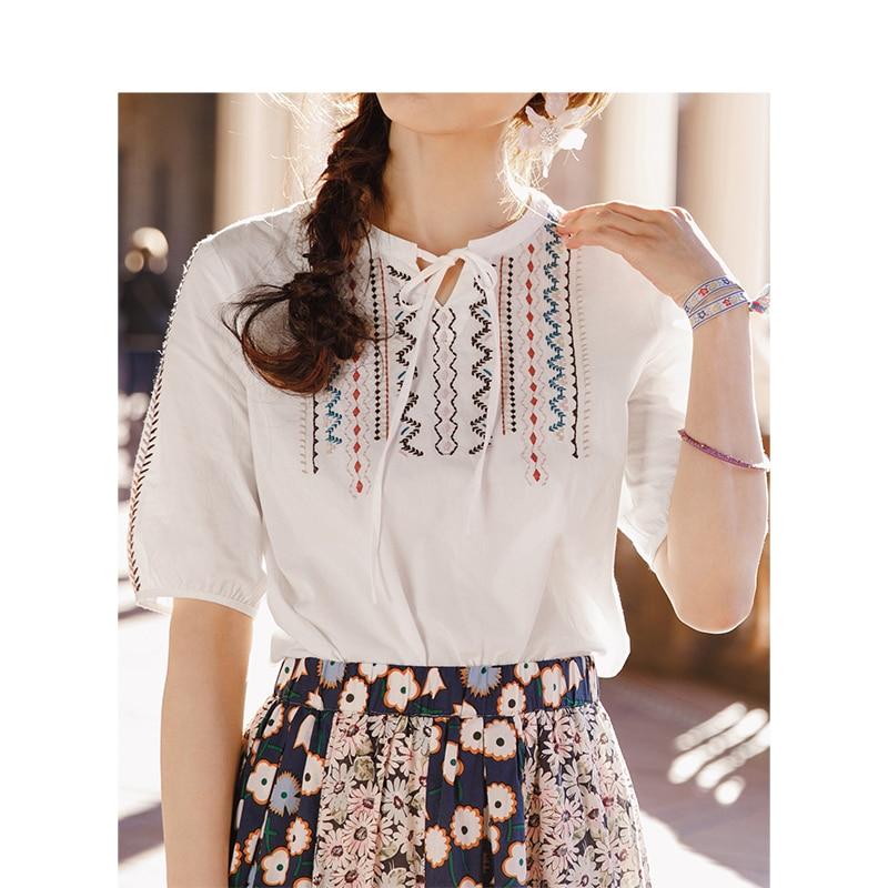 INMAN 2019 Summer Half Sleeve Vintage Wave Round Neck Embroidered Cotton Shirt Blouse