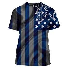 LBG new 3D printed flag Dallas denim sports T-shirt men and women fashion Harajuku American short sleeve