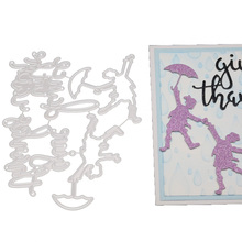 Give Thanks Word Frame Holding Umbrellas Metal Cutting Die For DIY Scrapbooking Paper Cards Die Cuts Photo Album Making square star heart rectangle circle dies frame metal cutting die for diy scrapbooking paper cards die cuts photo album making
