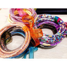 5 шт бисерный Блестящий желе Набор браслетов, 32 цвета, пластик с золотой порошковой подкладкой модные ювелирные изделия легкие браслеты