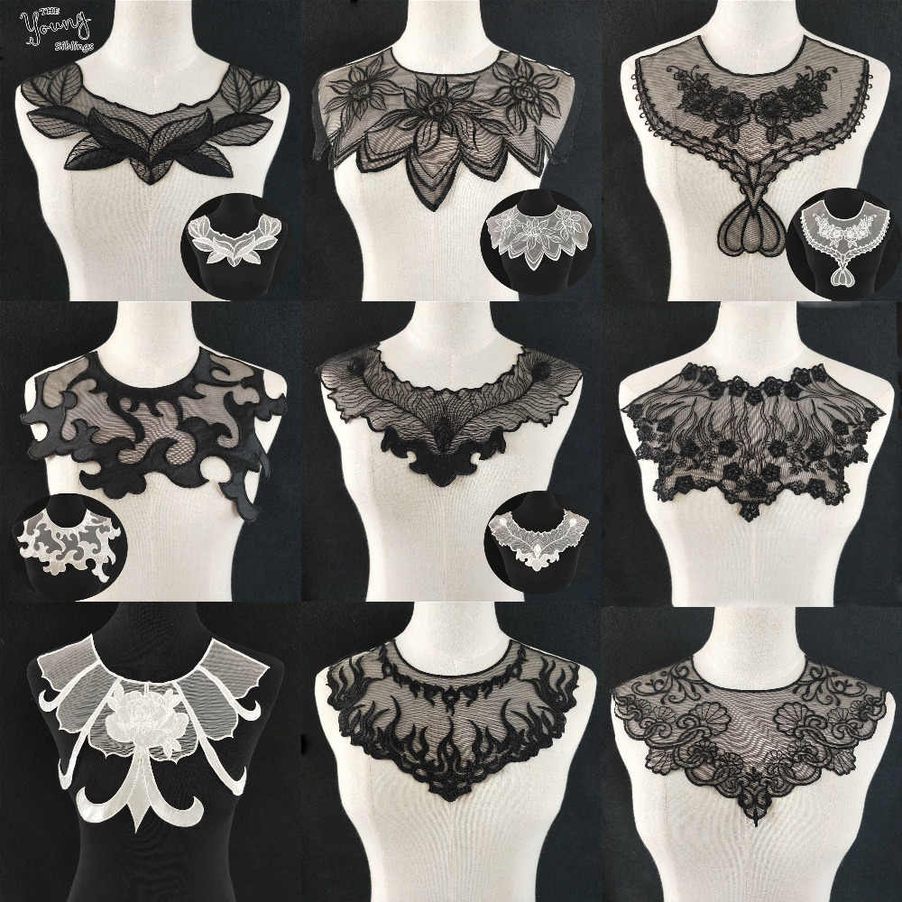 Black/White Guipure Flower Fabric Embroidery Sewing Applique Lace Collar trim Wedding dress Neckline DIY Clothing Accessories