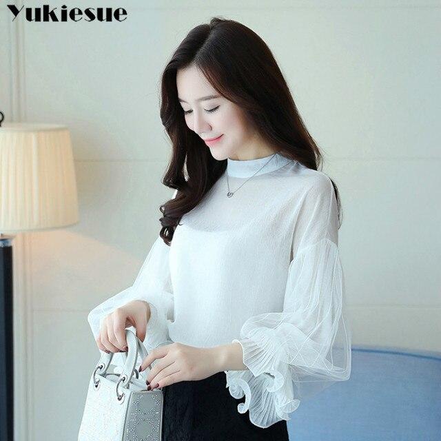 2019 Women tops and Blouses ruffless Summer autumn Long Sleeve White Shirt Casual Female Chiffon Blouse Women Clothing plus size 5