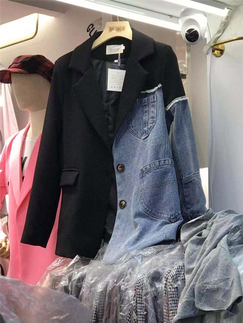 New Female Korean Denim Irregular Stitching Personality Fashion Loose Suit Jacket Women Tide Vintage Jeans Blazer Coat F2845