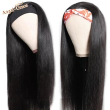 Angel Grace Headband Straight 100% Human Hair Wigs Brazilian Straight Natural Color Wigs For Women