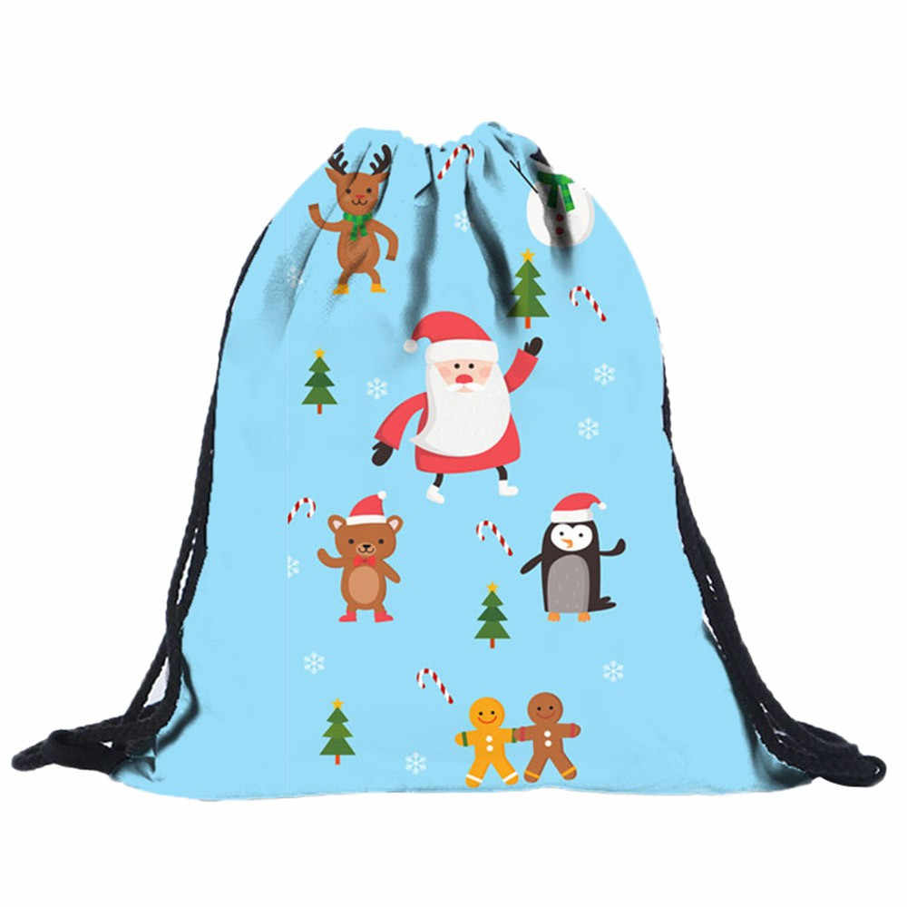 Chrismas Drawstring Bag Women Men Fashion Cute Polyester Character Casual Backpacks Girls Boys Outdoor Sports Travel Bag Ladies