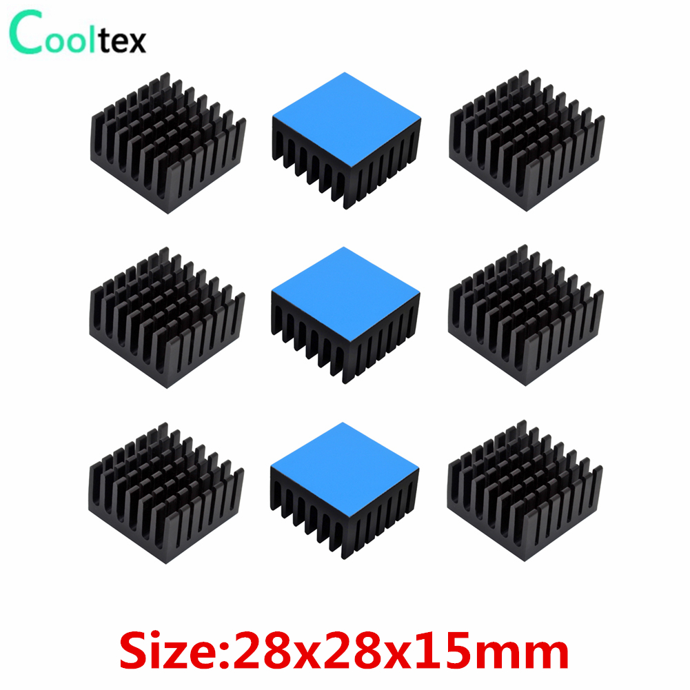 (Thicker Version ) 10pcs 28x28x15mm Aluminum Heatsink Radiator Cooling For Electronic Chip IC VRM With Thermal Conductive Tape