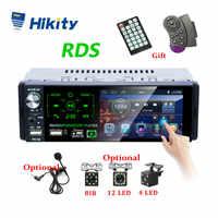 "Hikity Autoradio1 din Radio de coche 4,1 ""pulgadas pantalla táctil coche estéreo reproductor Multimedia MP5 Bluetooth RDS Dual USB soporte micrófono"