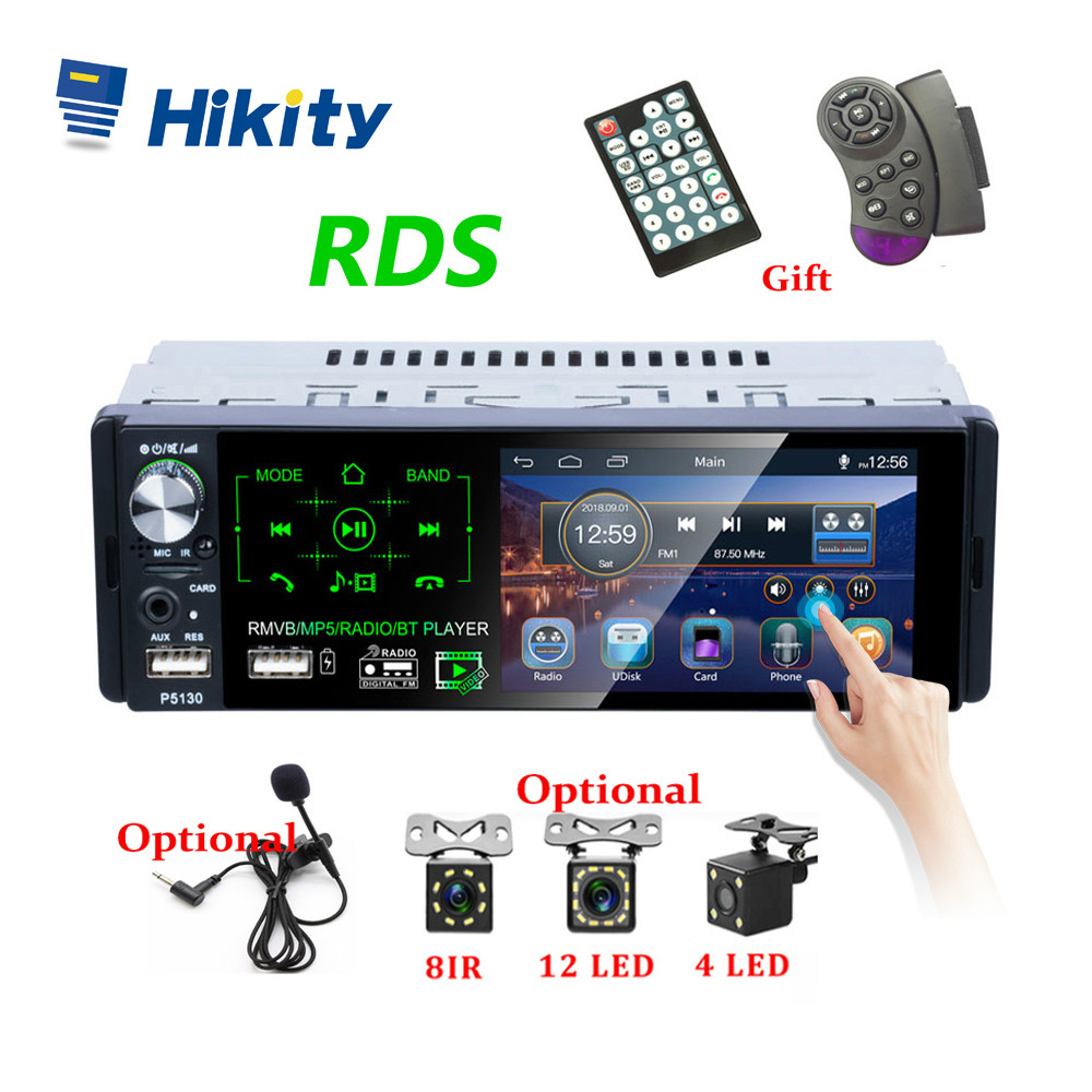Hikity Autoradio1 din Car Radio 4.1 Inch Touch Screen Car Stereo Multimedia MP5 Player Bluetooth RDS Dual USB Support Micphone image