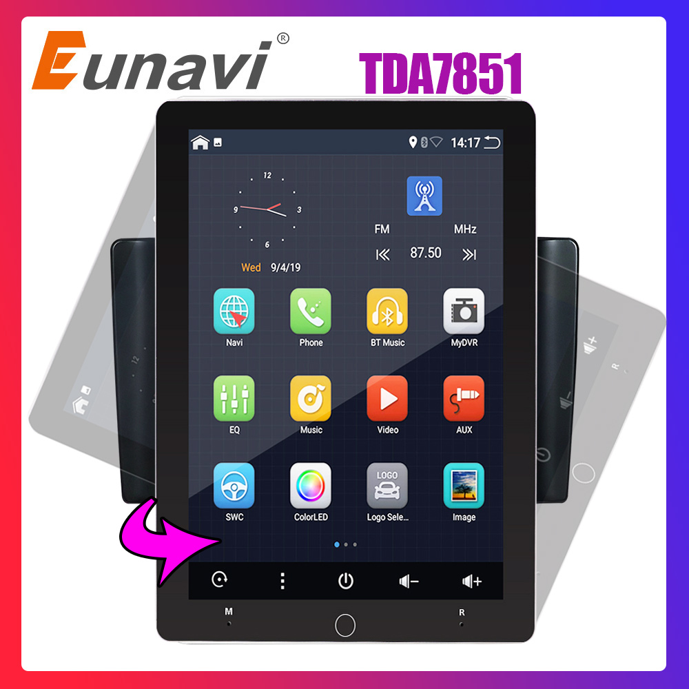 Eunavi 2 Din Android 9 Car Multimedia Radio Player Universal TDA7851 IPS Electric Rotation Screen GPS WIFI 2G RAM 32G ROM NO DVD