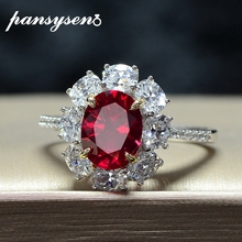 PANSYSEN Brand Natural Ruby Wedding Engagement Cocktaill Party Rings for Women 100% Real 925 Sterling Silver Fine Jewelry Ring