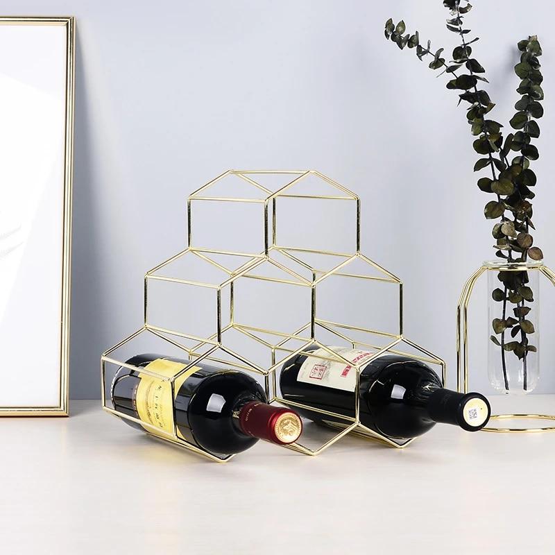 modern nordic shelf iron wine rack table decoration accessories ornaments gift box wedding event metal minimalist decor 2020