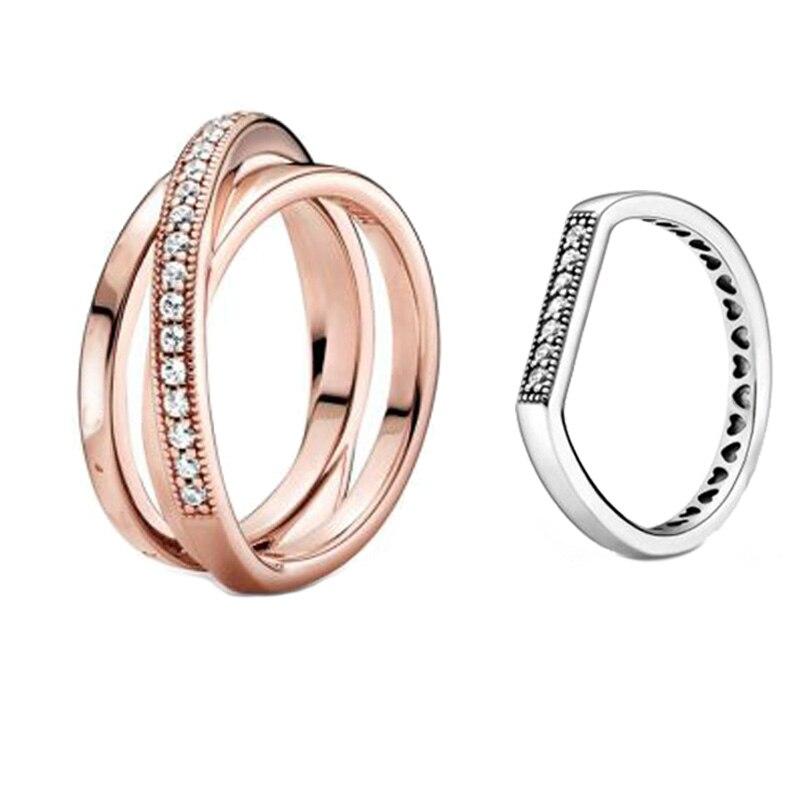 Bague en argent Sterling 2020, Signature croisée sur Triple bande, fiançailles, mariage, bijoux, cadeau, nouveau 925