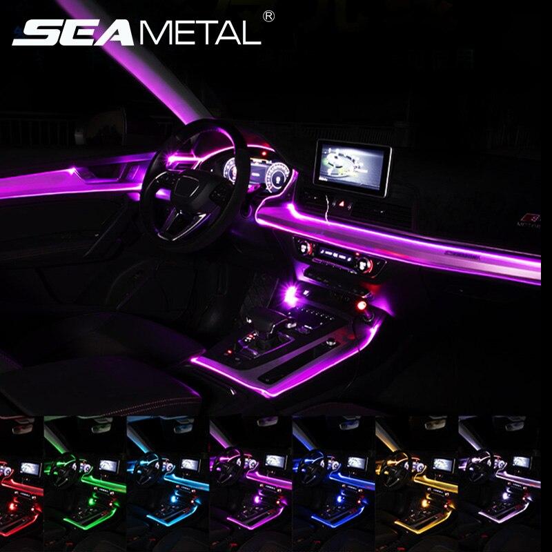 Гибкие автомобильные атмосферные лампы, управление через приложение звуком, RGB-режим, красочное освещение для салона автомобиля, декоратив...