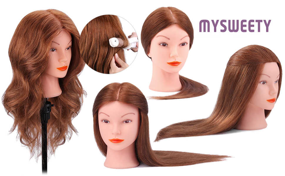 "18"" 100% Human Dark Brown Real Hair Styling Hairdressing Practice Training Cosmetology Mannequin Head Doll Heads"