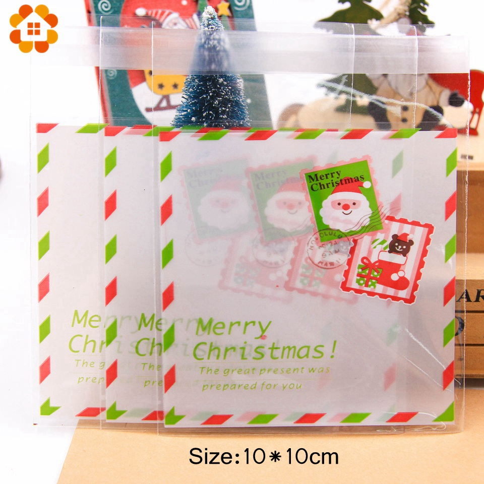 1set House Shape Christmas Candy Gift Bags With Ropes Xmas Tree Cookie Bags Merry Christmas Guests Packaging Boxes Party Decor 6